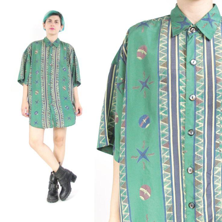 New to honeymoonmuse on Etsy: 80s Mens Silk Shirt Green Silk Shirt Slouchy Abstract Print Shirt Short Sleeve Silk Shirt African Print Unisex Striped Silk Shirt (S/L/XL) (36.00 CAD)