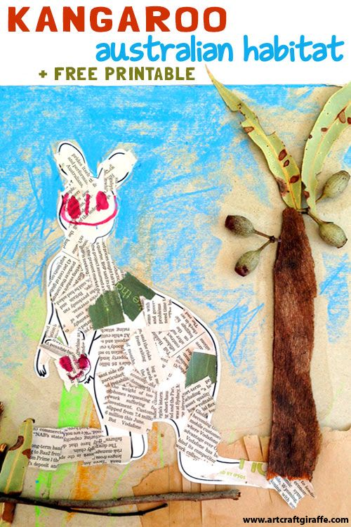 "Kangaroo Australian Habitat from Recycling & Nature by The Art & Craft Giraffe. This Picturebook Art & Craft inspired by the ""Hello Meerkat!"" Interactive Picturebook App for 1-5 year olds- Check it out at www.tinytwigastudios.com.au"