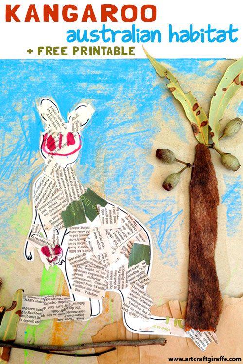 "Kangaroo Australian Habitat from Recycling & Nature by the Art & Craft Giraffe- www.artcraftgiraffe.com. Inspired by the ""Hello Meerkat!"" Interactive Picturebook App for 1-5 year olds- http://www.tinytwigastudios.com.au/hello-meerkat!.html"