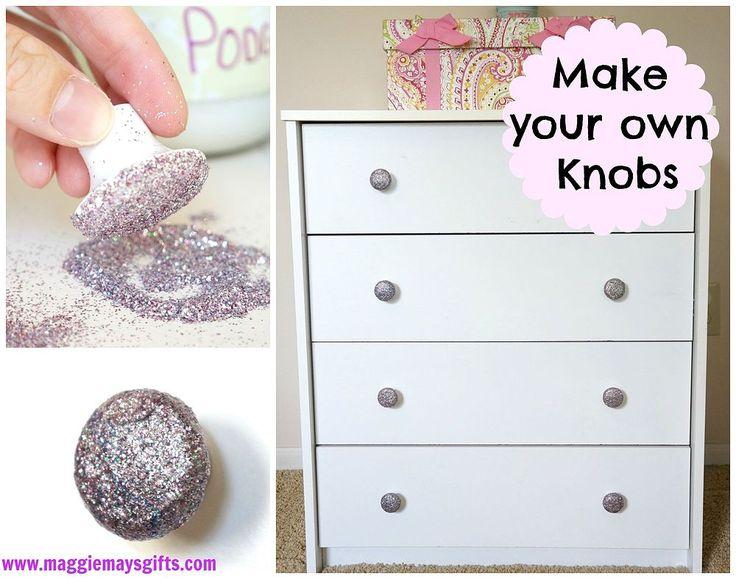 Hometalk | DIY Glitter Dresser Knobs-Easy and Cheap!