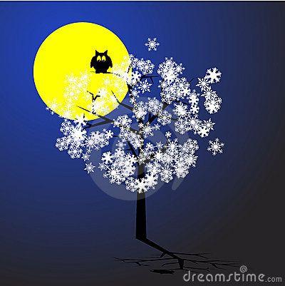 Eulen-Baum-Mond-Schnee-Vektor