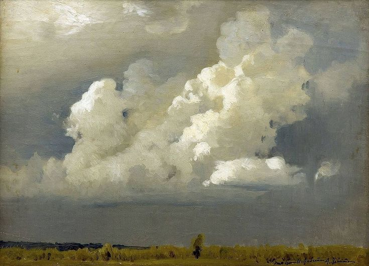 Isaac Levitan (1860- 1900) Before the Storm (The Cloud), 1890th Oil on Canvas 26.2 x 35.8 cm