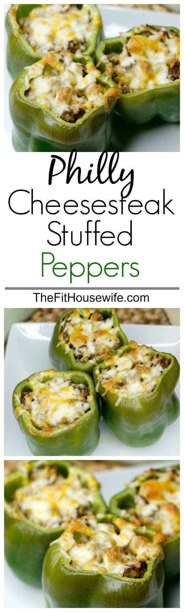 Philly Cheesesteak Stuffed Peppers. A delicious and healthy low-carb meal the whole family will enjoy.