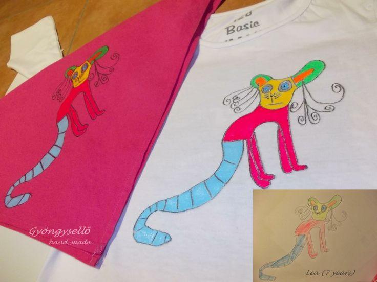 Gyűrűsfarkú maki! 7 éves kislány rajza alapján, kézzel festett póló és kendő.