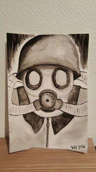 """Akvarellmålning - """"Gasmask"""""""