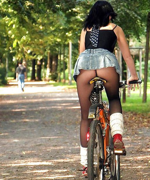 Pity, that women riding motorcycles in a mini skirt
