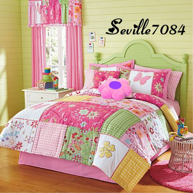 10p Queen Butterfly Quilted Comforter Pink Green Yellow