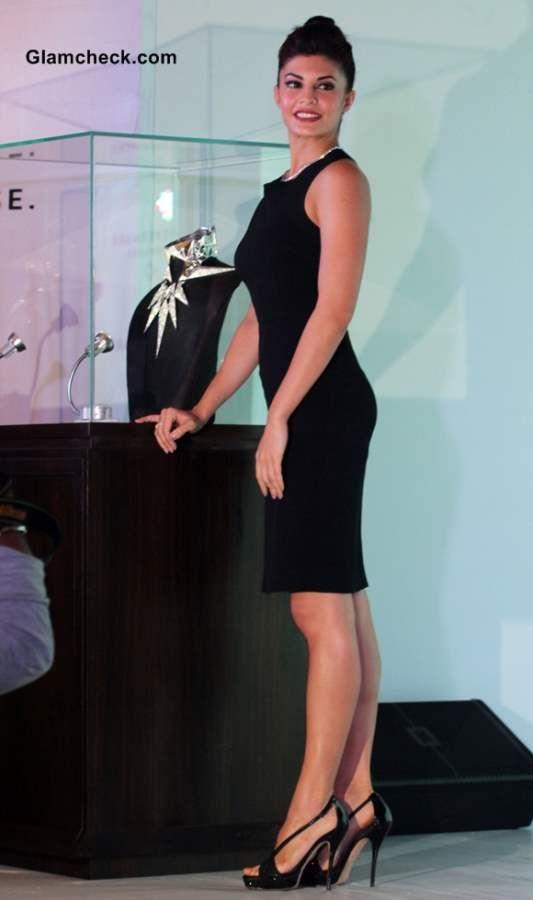 Jacqueline Fernandez in Black Sheath Dress at Forevermark Jewelry Display