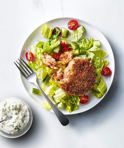 Salmon Cakes With Caper Mayonnaise |.