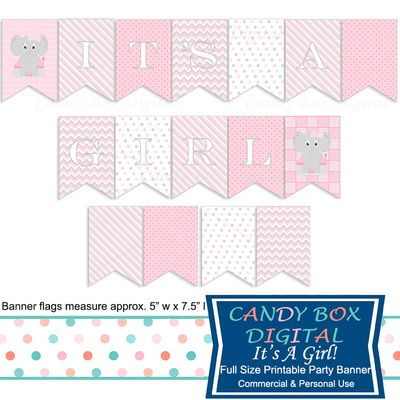 It's A Girl! Baby Elephant Ready-To-Print Party Banner by Candy Box Digital. Great for baby shower decorations.