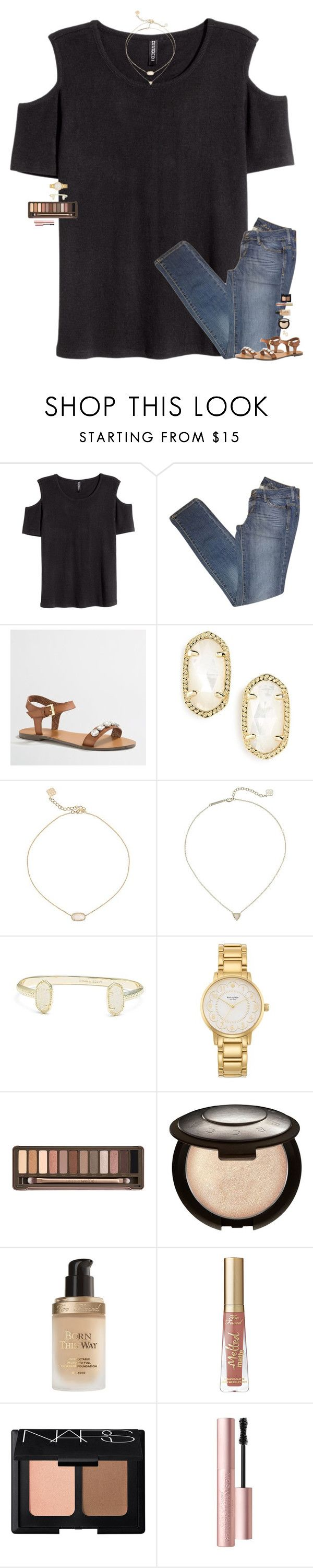 """""""she didn't want a million admirers, she just wanted one."""" by maggie-prep ❤ liked on Polyvore featuring H&M, MANGO, J.Crew, Kendra Scott, Kate Spade, Urban Decay, Becca, Too Faced Cosmetics and NARS Cosmetics"""