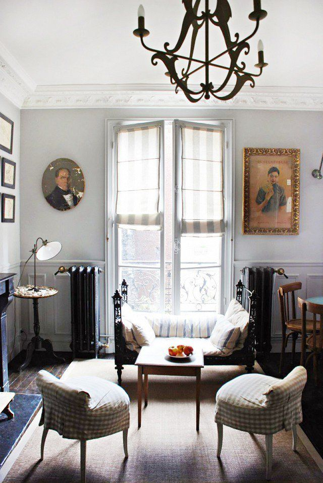 Old style Parisian chic home decor with vintage furniture