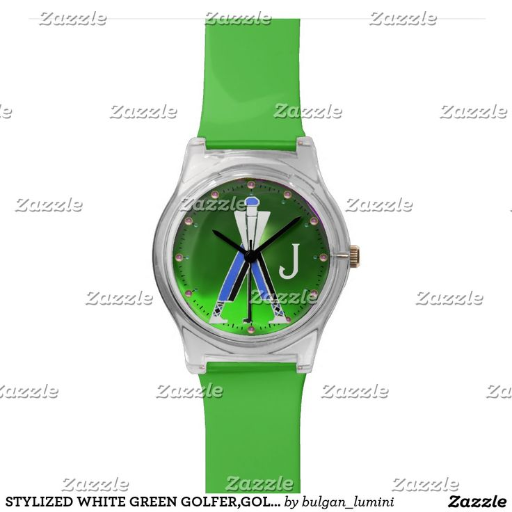 STYLIZED WHITE GREEN GOLFER,GOLF PLAYER MONOGRAM WRIST WATCHES  #golf #golfplayer #golfer #sport #fashion #sports #golfers