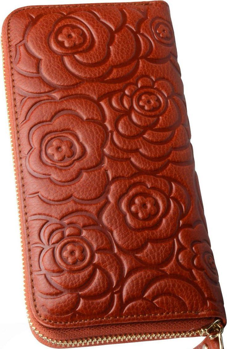 •Website: http://www.cuteandstylishbags.com/portfolio/heshe-brown-rose-zip-around-wallet/ •Item: Heshe Brown Rose Zip Around Wallet