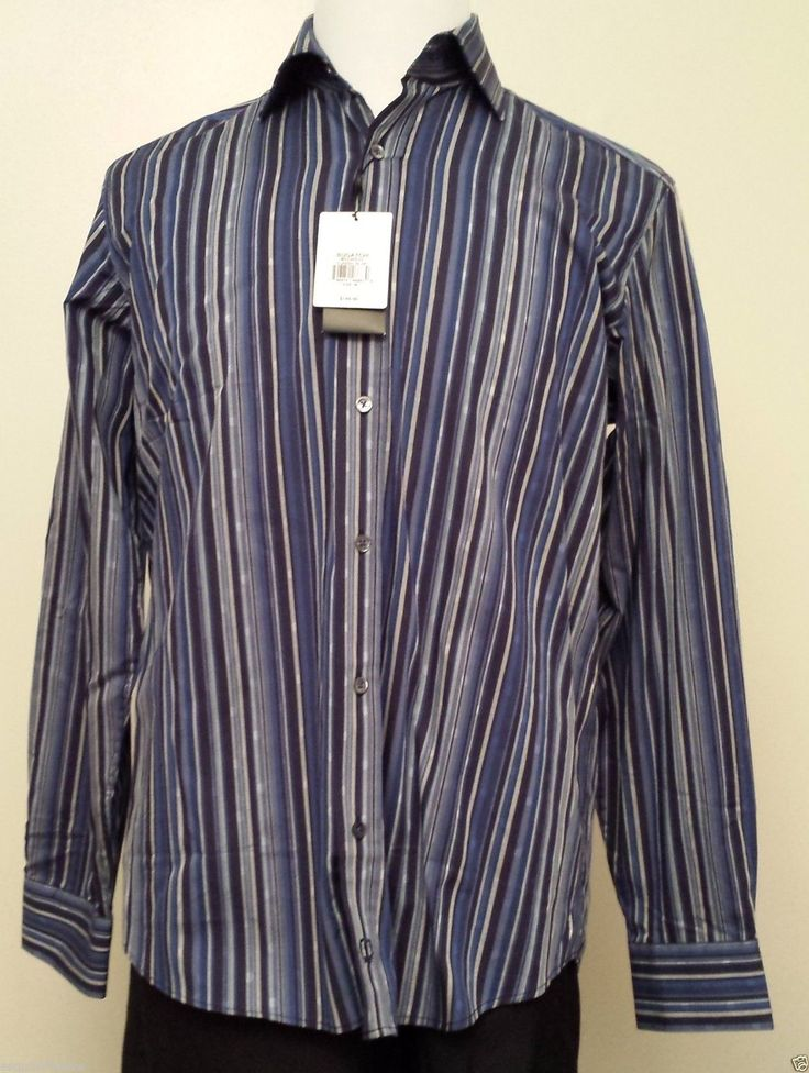 Bugatchi Uomo men size M dress #shirt model CLASSIC BLUE ($145) visit our ebay store at  http://stores.ebay.com/esquirestore