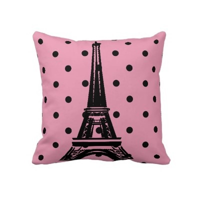 Pretty pink and black Eiffel Tower pillow. Perfect for decorating in the shabby chic style, or Parisian chic style. Eiffel tower image is on both sides of the cushion