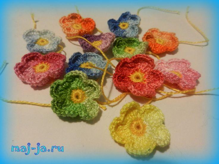 free pattern, Мастер-класс Маленький цветочек-незабудка крючком