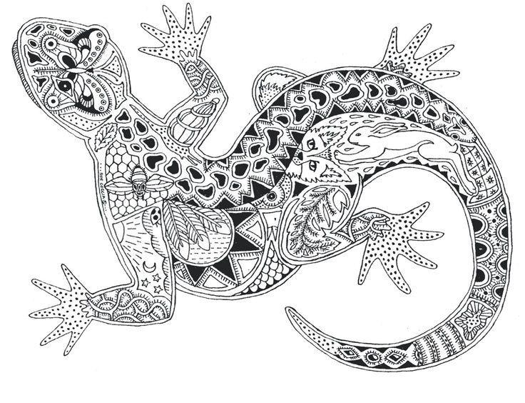 Coloring Pages Zentangle Animals : Zentangle animals gecko kid s art
