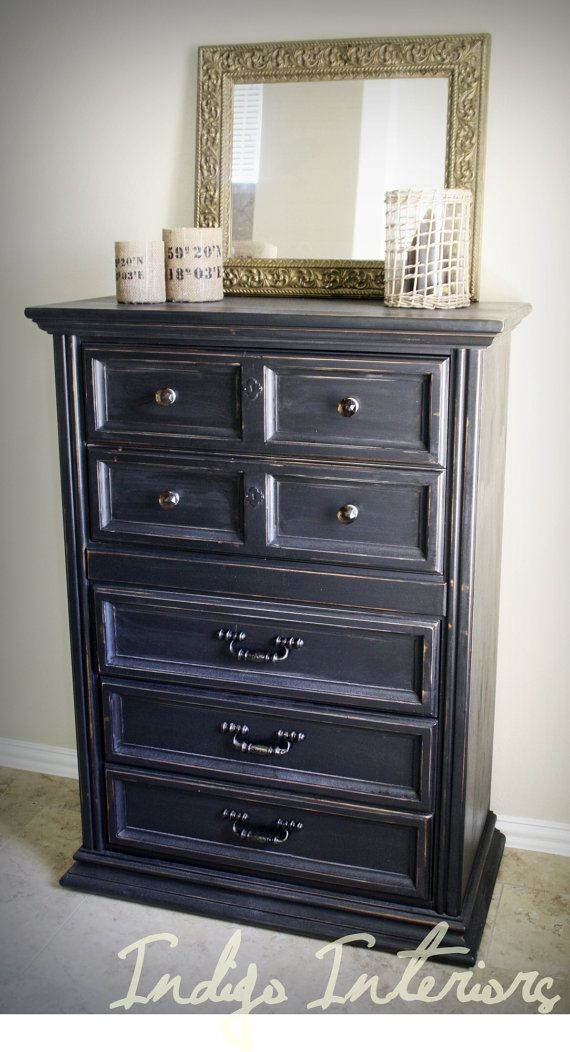 Tall Black Distressed Dresser / Table by IndigoInteriors on Etsy, $350.00