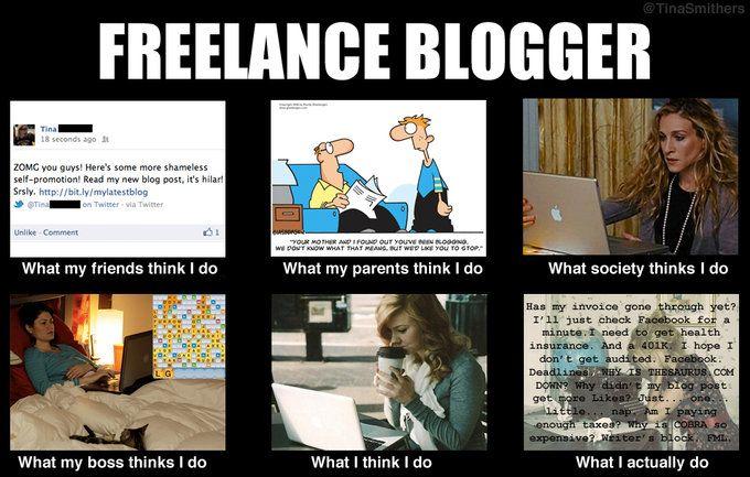 Freelance Blogger. What People Think I Do / What I Really Do meme.