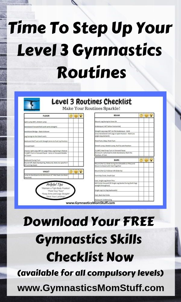 If You Re Ready To Step Up Your Level 3 Gymnastics Routines These Checklists Can Help Gymnastics Skills Gymnastics Skills Gymnastics Routines Gymnastics Mom