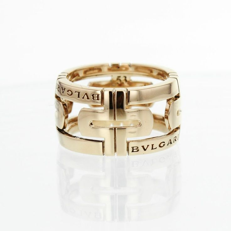 bulgari parentesi wide band 18k solid yellow gold ring size 6