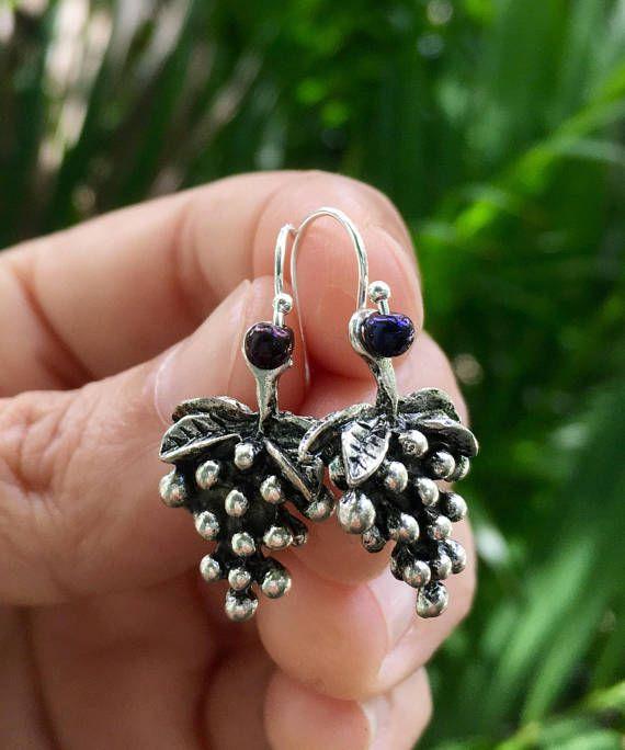 grape earrings sterling silver earrings wine grape earrings