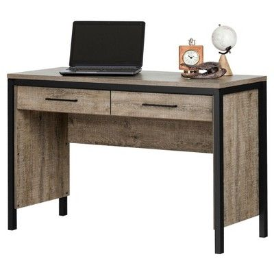Munich Desk with Drawers - Weathered Oak and Matte Black - South Shore