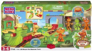 Megabloks All Aboard the Dinosaur Train! by Megabloks. $99.95. Authentic colors and design straight from the Dinosaur Train cartoon!. Mr. Conductor sticker and big red wheels that really spin!. Includes Gilbert, Buddy and Tiny figurines!. Buildable Dinosaur Train and Pteranodon Station!. Combine with other toys to mix and match pieces and build your own adventures with Buddy and his family on the Dinosaur Train!. From the Manufacturer                All aboard the Dinosaur ...