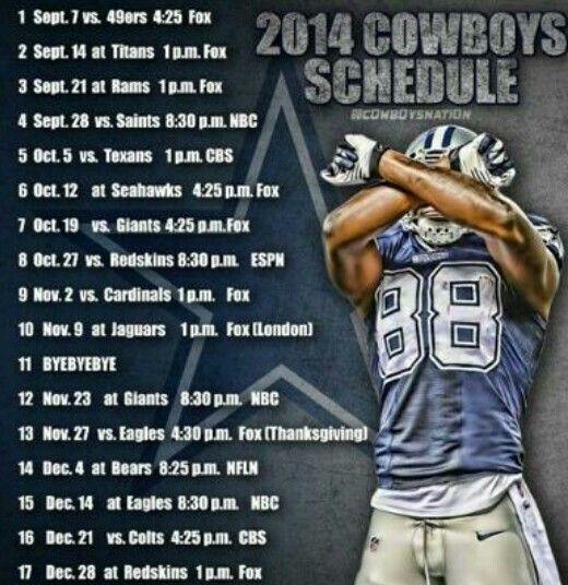 2014 Dallas Cowboys Schedule☆