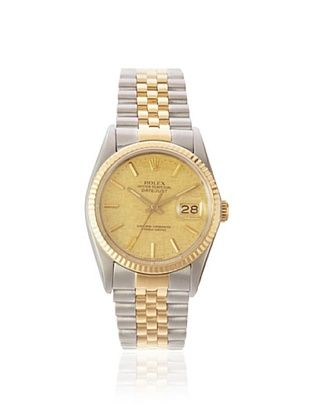 Rolex Men's Datejust Yellow Gold/Champagne Linen Stainless Steel Watch