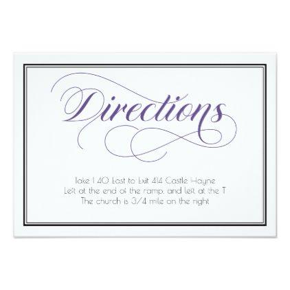 #Purple Graceful Script Wedding Directions Card - #weddinginvitations #wedding #invitations #party #card #cards #invitation #vintage