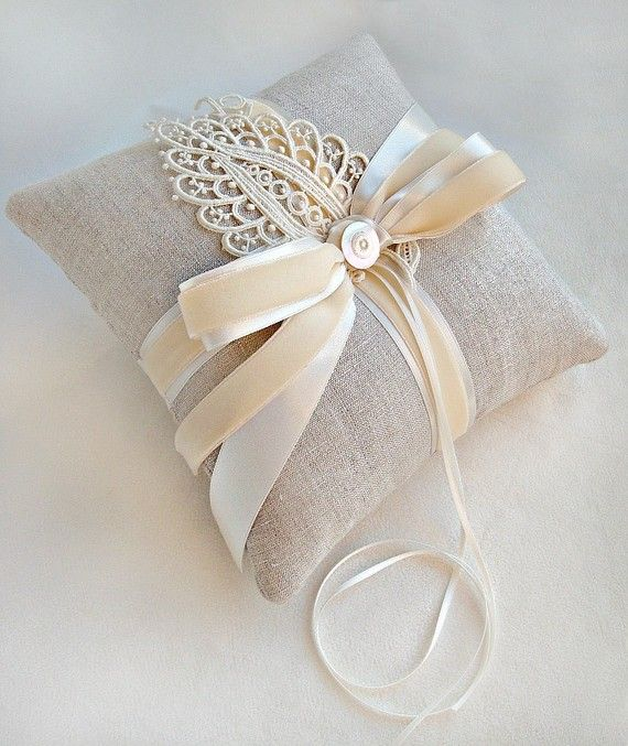 Beautiful linen ring bearer pillow with a vintage lace leaf, vintage ivory velvet ribbon, luxe double face satin ribbon and an antique mother of