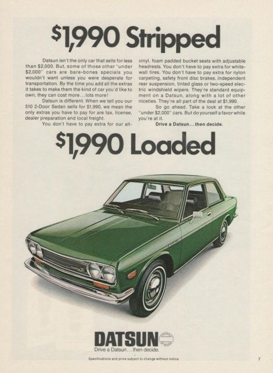 "An original 1972 advertisement for the Datsun 510. Vibrant green 2 door sedan car with loaded features. ""Drive a Datsun...then decide"" -A vintage 1972 Datsun 510 car advertisement -Measures: 8"" x 11"","
