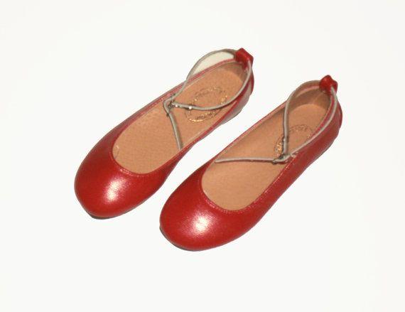 Handmade women genuine leather ballet flats - red ballet flats