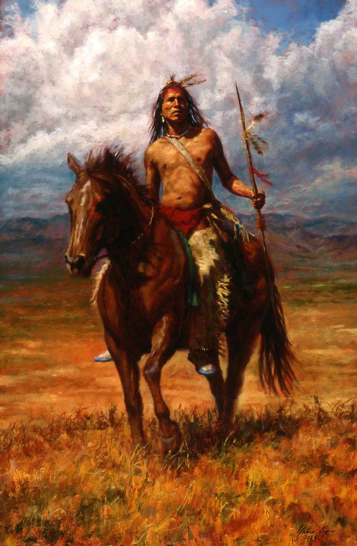 """Master of His Land"" is painting of a Crow warrior on horseback. (By James Ayers)"