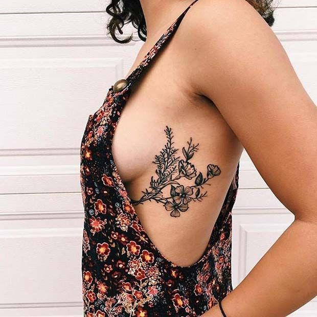Floral Rib Tattoo for Flower Tattoo Ideas for Women