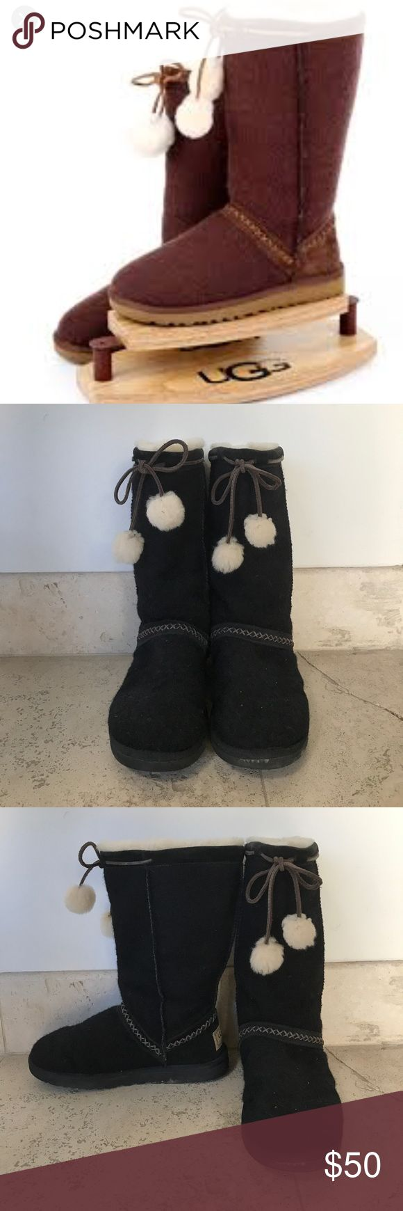 UGG boot with pom pom selling black pair- brown picture is to show style! fur inside, wool outside with fur pom poms (sheepskin lining), real uggs! Can ship today! UGG Shoes Winter & Rain Boots