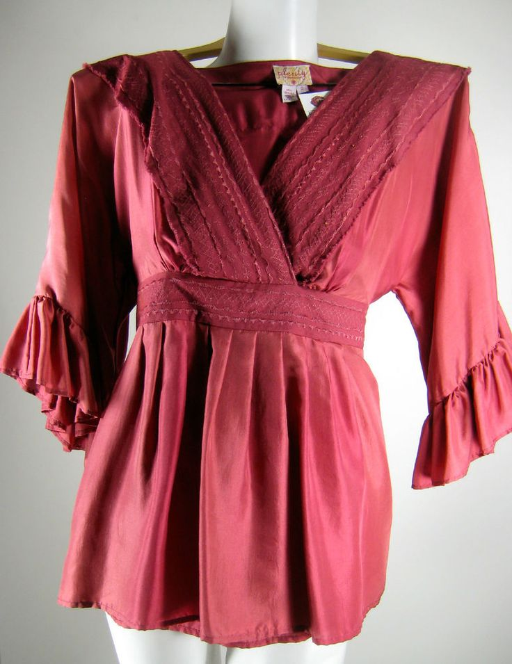 Red Silk Peasant Blouse 112