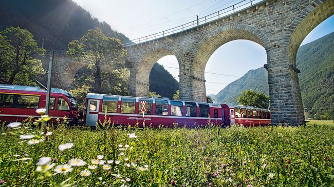 The Bernina Express is the perfect all-rounder, seamlessly linking the cold north to the warm south. It smoothly negotiates every climb while offering one of the world's most unforgettable train journeys.