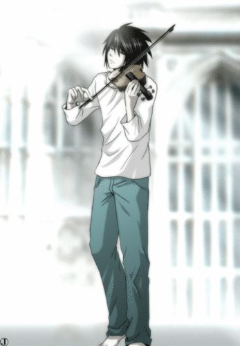 Ryuzaki playing the violin!!! Omg this is the most aasdjhgfjhgd thing I´ve seen in all my life