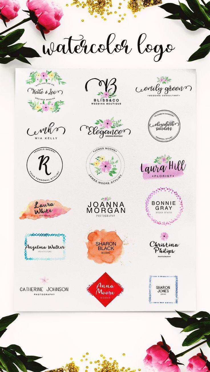 Watercolor Logo Kit 8 Fonts Watercolor Logo Logos Design Lettering