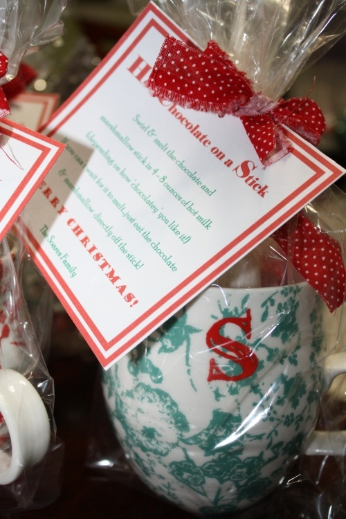 anthro mugs + hot chocolate on a stick. great gift.