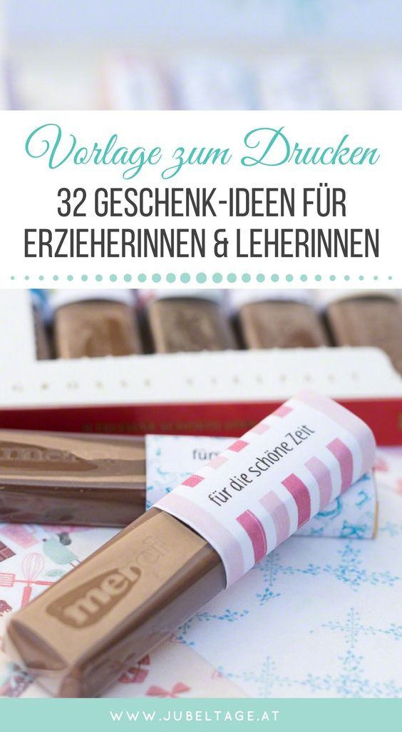 Süßes Geschenk mit Merci Schokolade für Lehrer, Erzieher und Pädagogen mit Druckvorlage