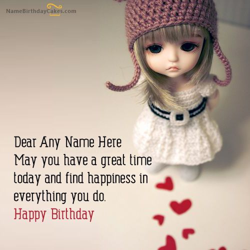 Write name on Doll Birthday Wish - Happy Birthday Wishes