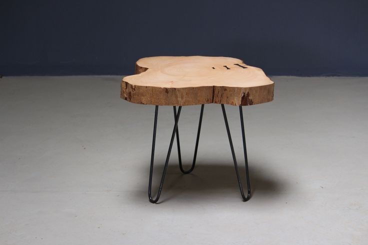 Live edge table with forged steel bowties and hairpin legs