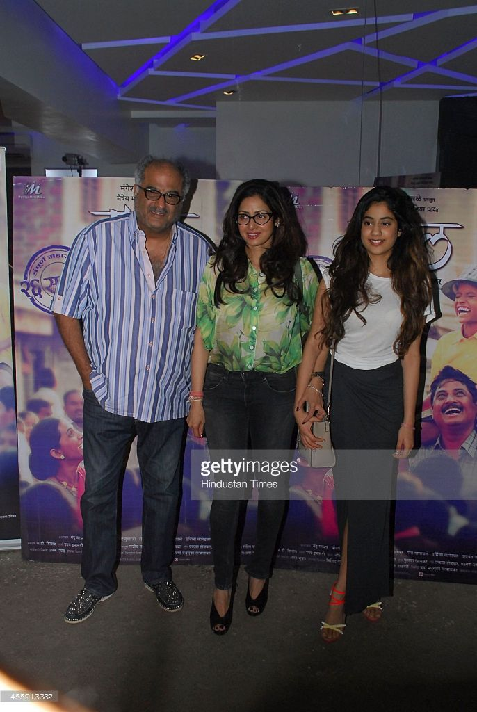 Bollywood actor Sridevi along with her husband Boney Kapoor and daughter Jhanvi during the screening of Marathi film Tapaal on September 20, 2014 in Mumbai, India.