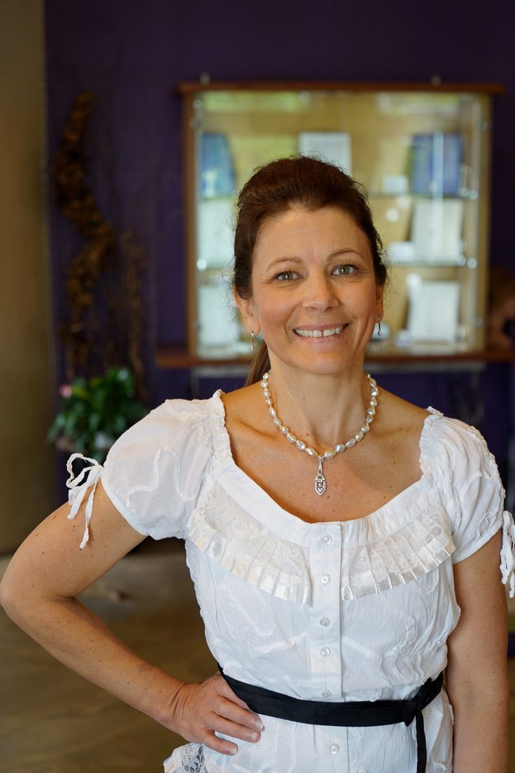 """Clarisse has styled this necklace using Athenas existing heirloom diamond """"deco"""" pendant together with our keshi pearls. The diamond pendant alone was quite a formal piece but is now more versatile.... as you can see comfortable with a casual lace top."""