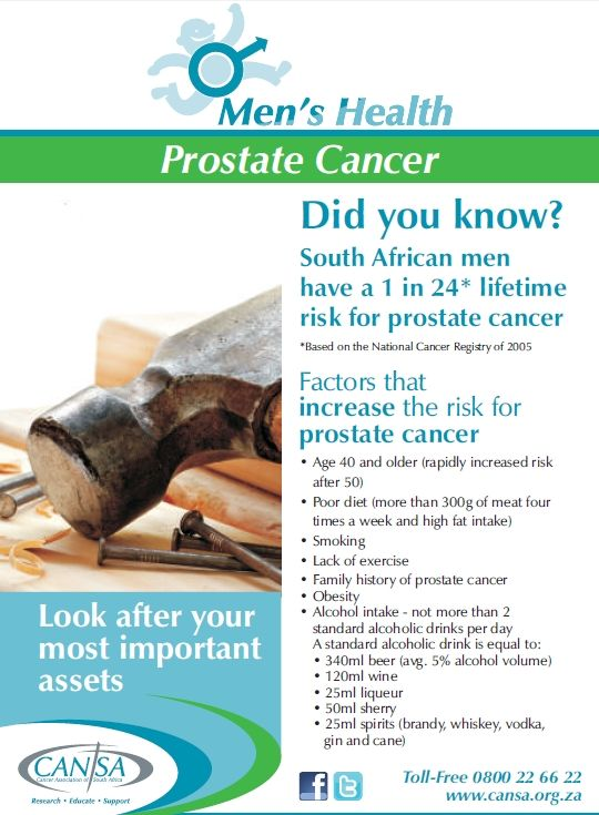 Today we celebrate FATHERS' DAY!  Please remember Dads: Knowing Your Body Could Save Your Life  Prostate Cancer: Men over the age of 40 need to go for simple screening tests each year to check if they might have prostate cancer, which is the most common cancer among men in South Africa and globally.