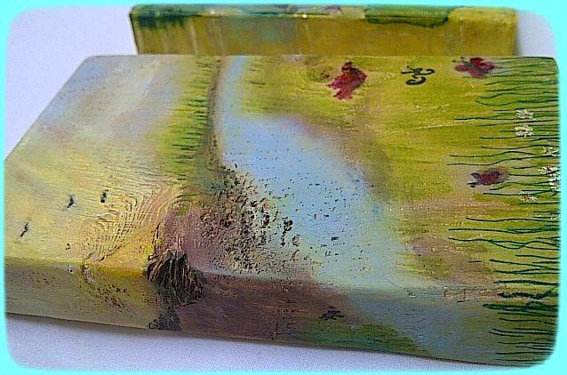 """Sun-Risa"" Feb-2017 by CH Original art, Gelato, acrylics, colored pens on reclaimed wood.  3"" x 4¾"" N/A"